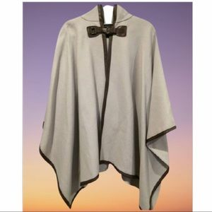 Zara grey cape w brown piping, hood & silver H W
